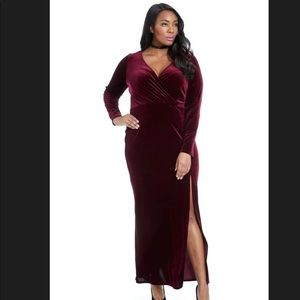 Fashion to Figure Wine Velvet Gown sz 3